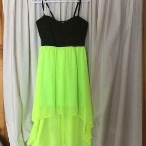 A bright high low dress